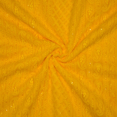 Yellow Lakhanvi Chikan Work Georgette Embroidery Fabric-19373