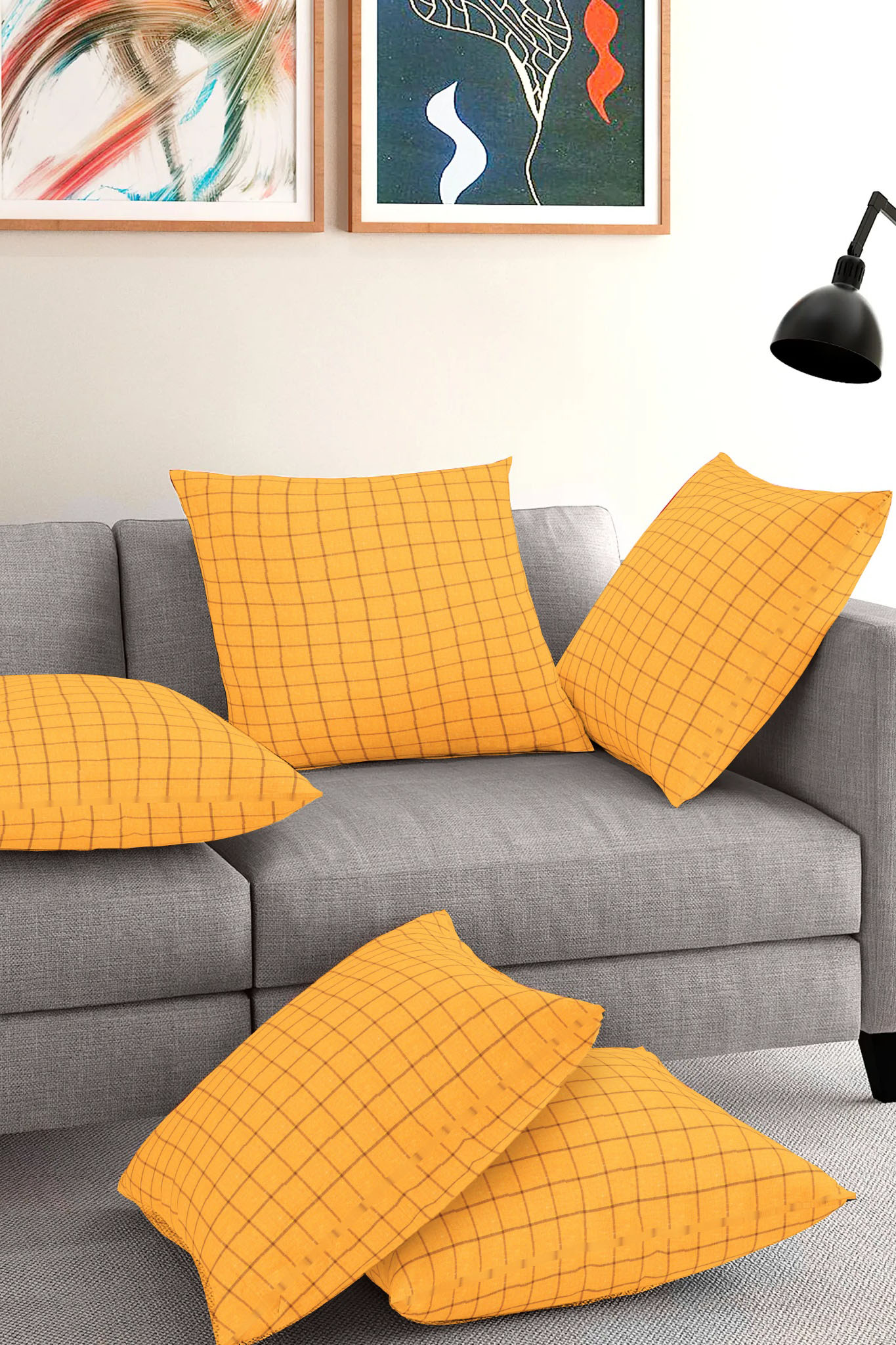 Set of 5-Yellow Maroon Cotton Cushion Cover-35414-16x16 Inches