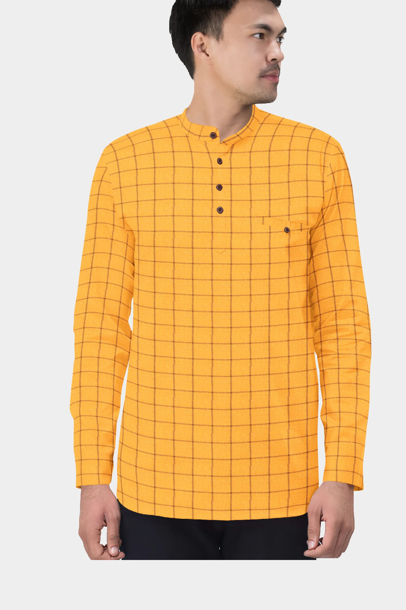 Yellow Maroon Cotton Check Short Kurta-35458