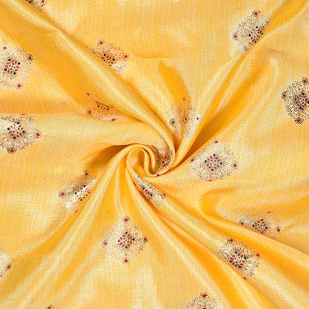 Yellow Maroon Flower Cotton Print Fabric-28211