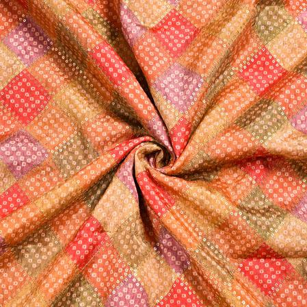 Yellow MultiColor Bandhej Digital Position Print Chinon Embroidery Fabric-19287