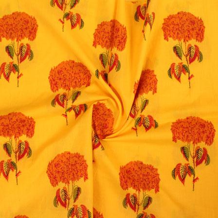 Yellow Orange Block Print Cotton Fabric-14857