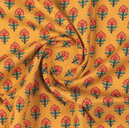 Yellow Orange Block Print Cotton Fabric-16163