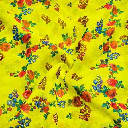 Yellow Orange Floral Georgette Fabric-41110