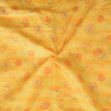 Yellow Orange Floral Print Glazed Cotton Fabric-15207