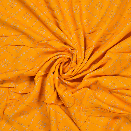 Yellow Orange Flower Cotton Print Fabric-28358