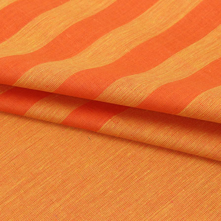 Yellow Orange Striped Handloom Khadi Cotton Fabric-40723