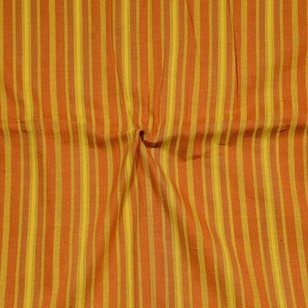 Yellow Orange Stripes Print South Cotton Fabric-15224