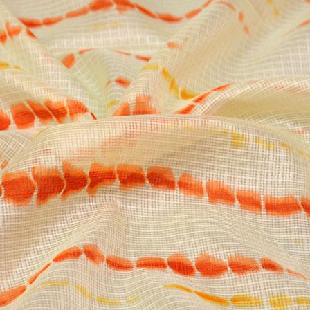 Yellow-Orange and Beige Tie-Dye Shape Kota Doria Fabric-6004