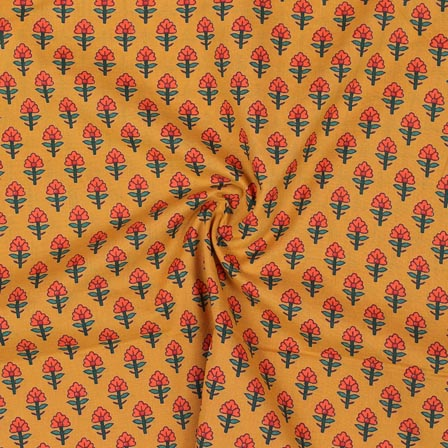 Yellow Orange and Green Block Print Rayon Fabric-14910