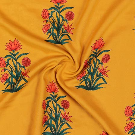 Yellow Orange and Green Block Print Rayon Fabric-14914