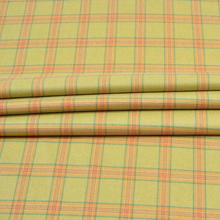 Yellow Orange and Green Check Wool Fabric-90115