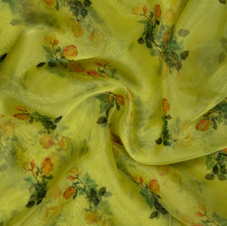 Yellow Orange and Green Floral Organza Silk Fabric-22130