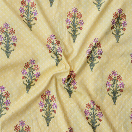 Yellow Orange and Green Floral Print Rayon Fabric-15194