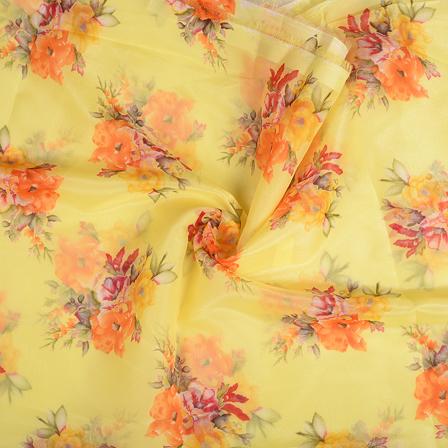 Yellow-Orange and Green Floral Silk Organza Fabric-51126