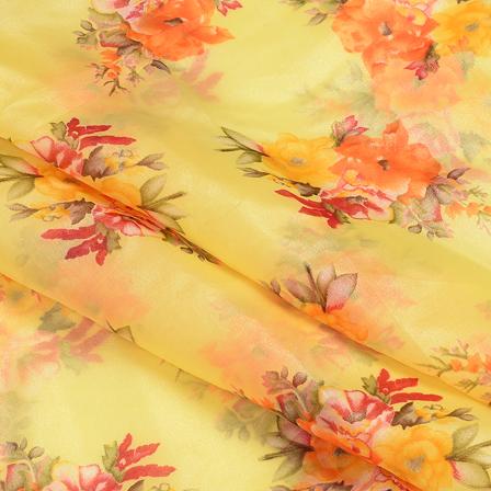 Yellow-Orange and Green Flower Design Silk Organza Fabric-51070