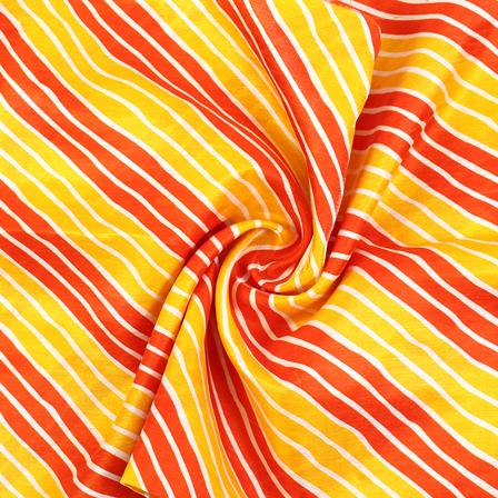 Yellow-Orange and White Lehariya Design Kota Doria Fabric-25068