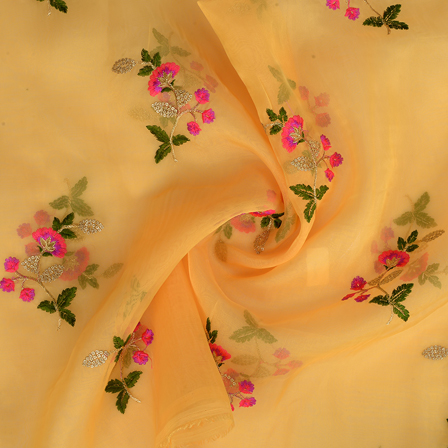 Yellow Organza Fabric With Green and Golden Flower Embroidery-50098