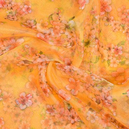 Yellow Peach Floral Organza Digital Silk Fabric-22177