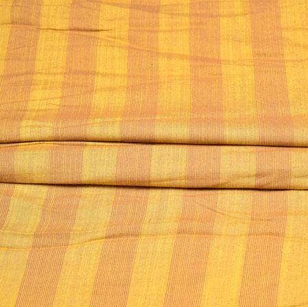 Yellow Peach Stripe Handloom Cotton Fabric-42438