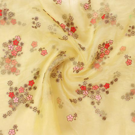 Yellow Peach and Pink Flower Embroidery Organza Silk Fabric-51705