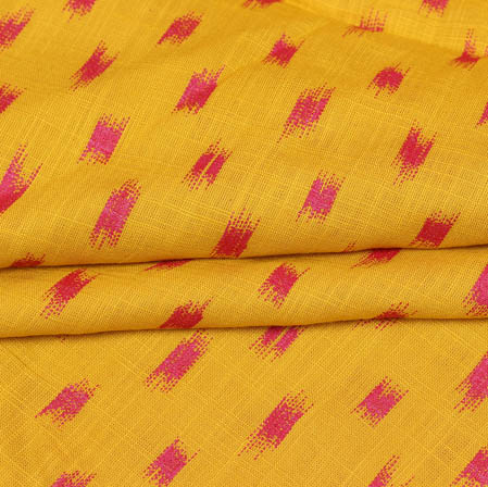 Yellow Pink Block Print Cotton Fabric-14940