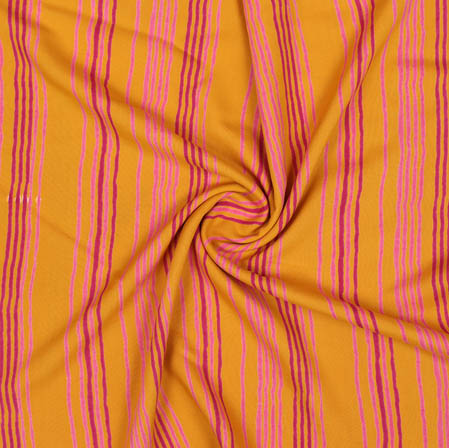 Yellow Pink Block Print Cotton Fabric-14949