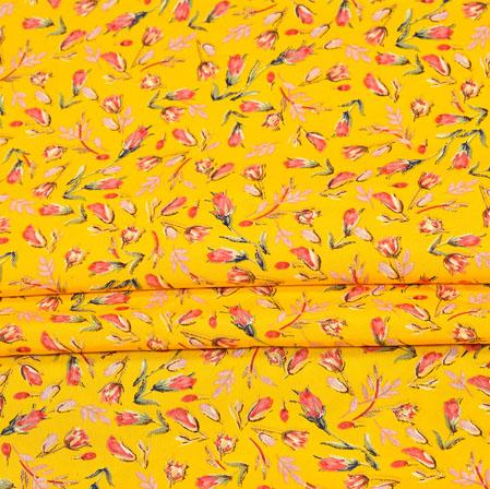 Yellow Pink Digital Flower Print Georgette Fabric-41173
