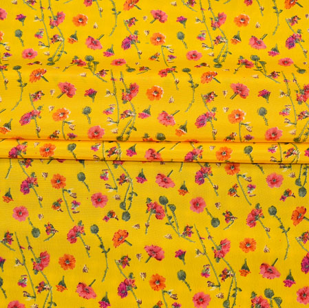 Yellow Pink Digital Flower Print Georgette Fabric-41175