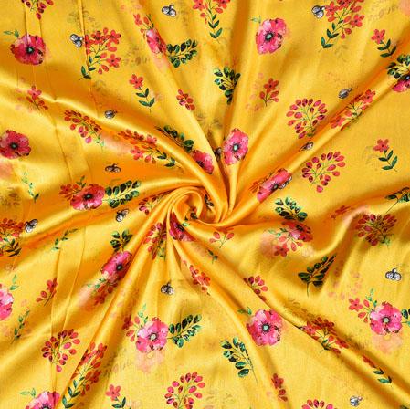 Yellow Pink Digital Flower Print Georgette Fabric-41195