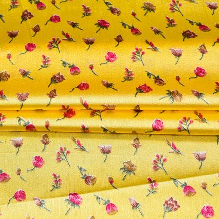 Yellow Pink Digital Flower Print Georgette Fabric-41205