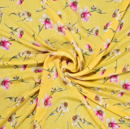 Yellow Pink Digital Flower Print Georgette Fabric-41213