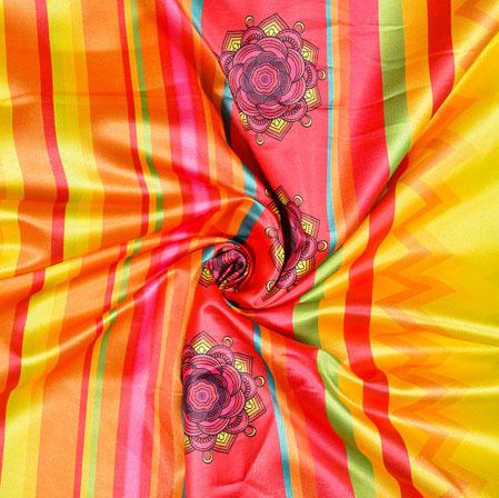 Yellow Pink Digital Print Panel Work Georgette Fabric-41170