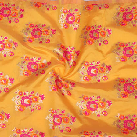 Yellow Pink Floral Banarasi Silk Fabric-9369