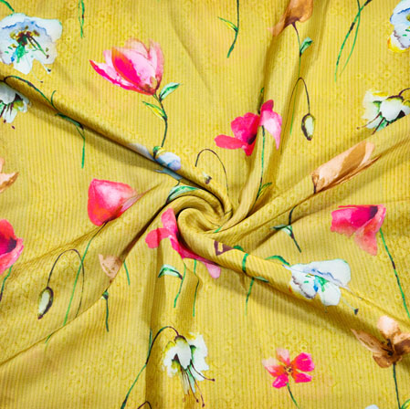 Yellow Pink Floral Crepe Silk Fabric-41144