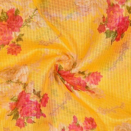 Yellow Pink Floral Kota Doria Fabric-42542