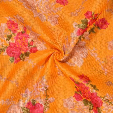 Yellow Pink Floral Kota Doria Fabric-42559