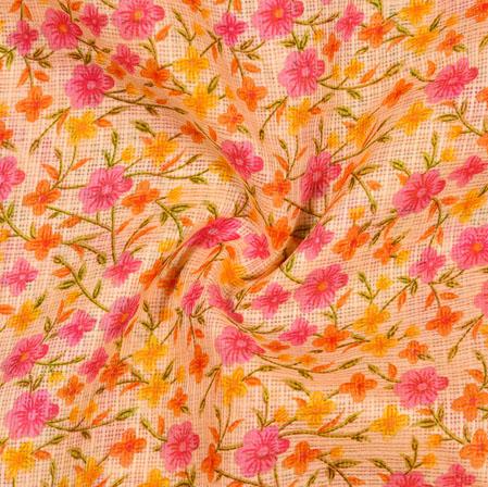 Yellow Pink Floral Kota Doria Fabric-42565
