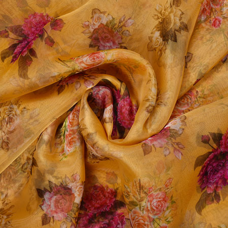 Yellow Pink Floral Organza Silk Fabric-22108