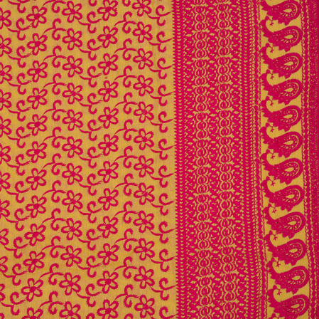 Yellow Pink Flower Lucknowi Chikan Fabric-95031