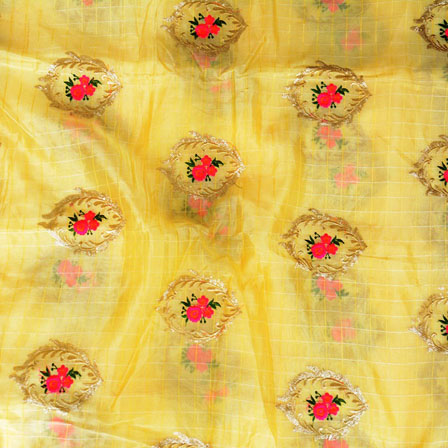 Yellow Pink Flower embroidery Organza Silk Fabric-51509