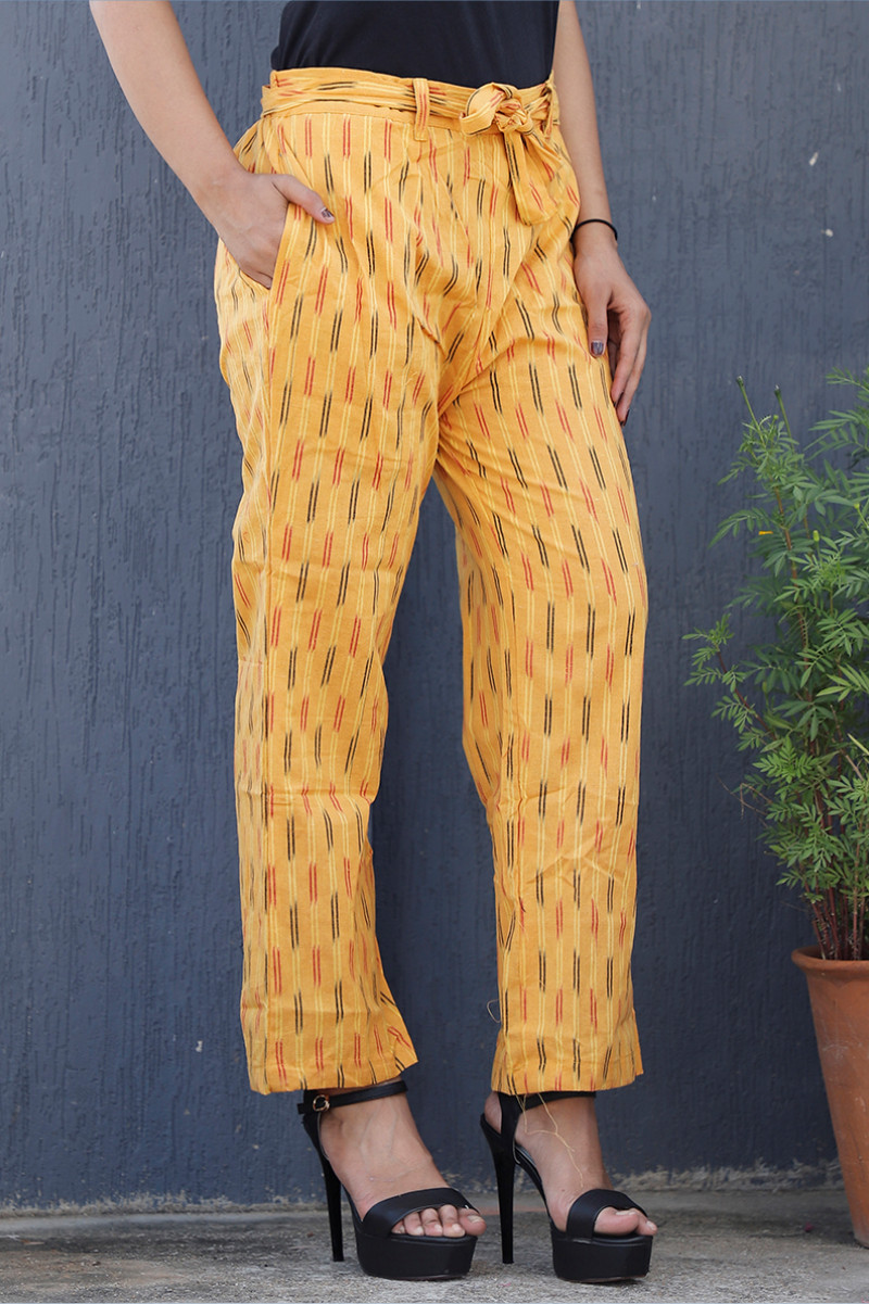 Yellow Pink and Black Cotton Ikat zig zag Narrow Pant-34038