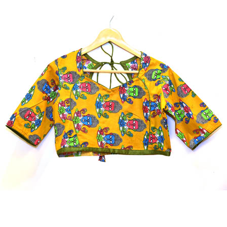 Yellow-Pink and Blue Buddha Kalamkari Print Cotton Blouse-30049
