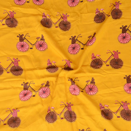 Yellow Pink and Brown Cycle Print Rayon Fabric-15200