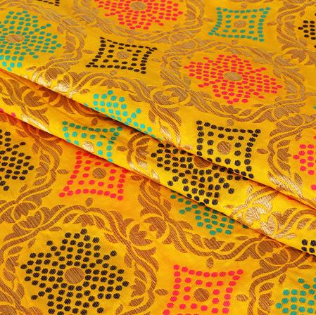 Yellow Pink and Cyan Floral Banarasi Silk Fabric-9424