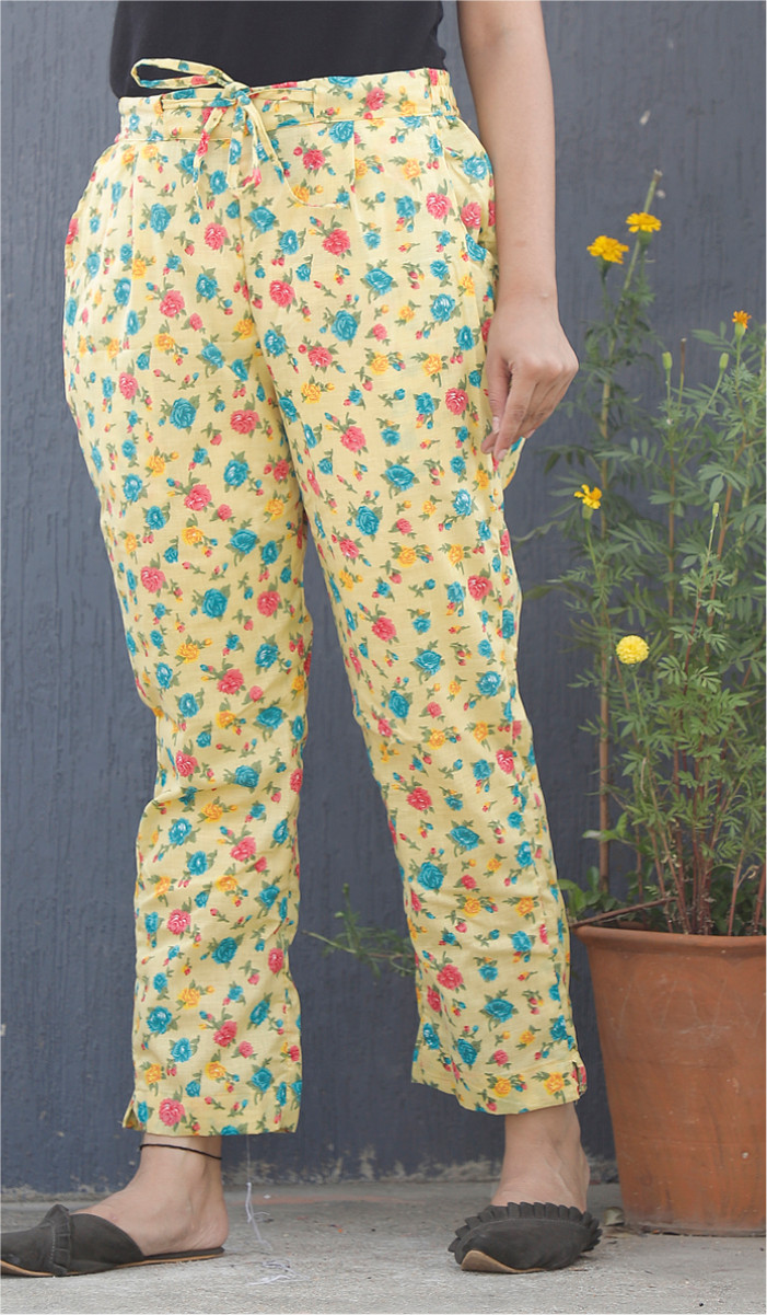 Yellow Pink and Cyan Floral Block Print Cotton Pant-34116