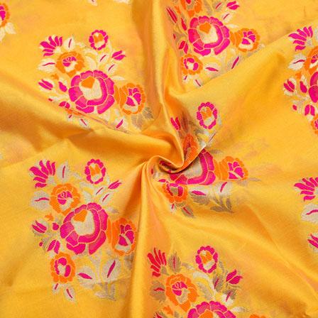 Yellow Pink and Golden Floral Banarasi Silk Fabric-12214