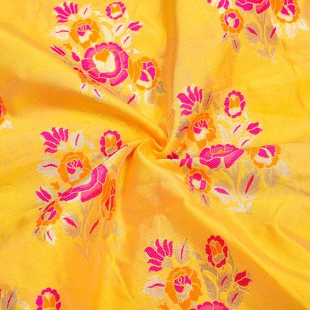 Yellow Pink and Golden Floral Banarasi Silk Fabric-12344