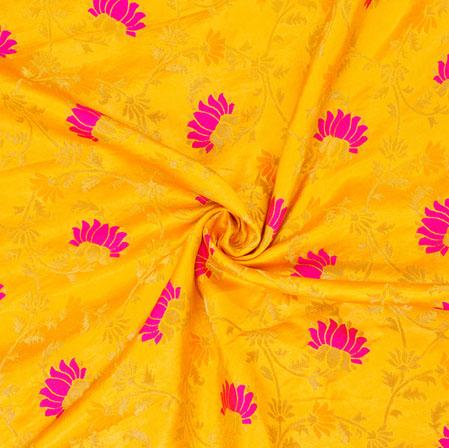 Yellow Pink and Golden Floral Banarasi Silk Fabric-12573