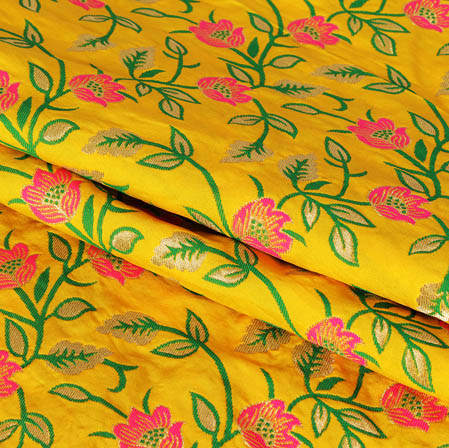 Yellow Pink and Golden Floral Banarasi Silk Fabric-9441